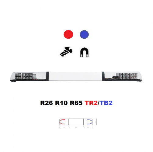 LED lightbar Optima 90/2P 110cm blue / red, white center, ECE R65 - Color: Blue/red, Lens: Transparent, LED modules: 8ml